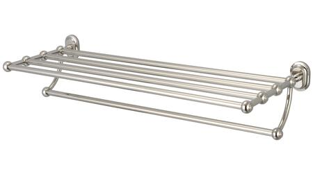 BA-0001-05 Multi-Purpose Bath Towel Rack Shelf For Classic Bathroom with Vintage Restoration Hardware and Solid Brass Construction in Polished Nickel