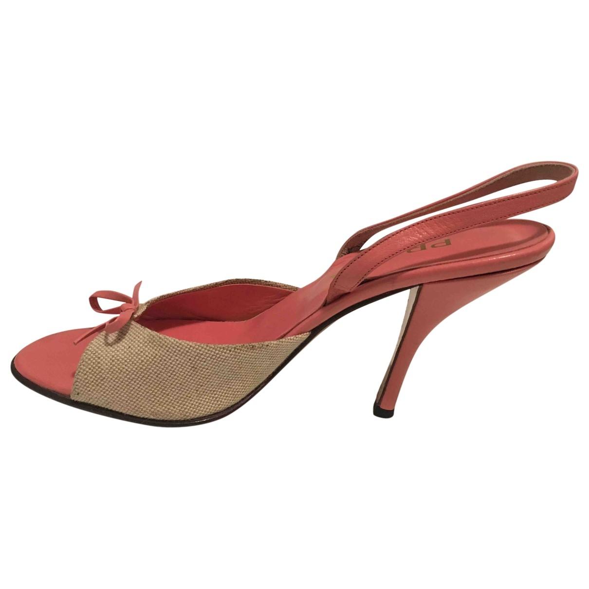 Prada \N Pink Leather Sandals for Women 39.5 EU