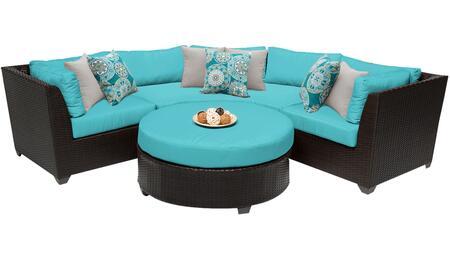 Barbados BARBADOS-04a-ARUBA 4-Piece Wicker Patio Set 04a with 2 Corner Chairs  1 Coffee Table and 1 Curved Armless Sofa - Wheat and Aruba