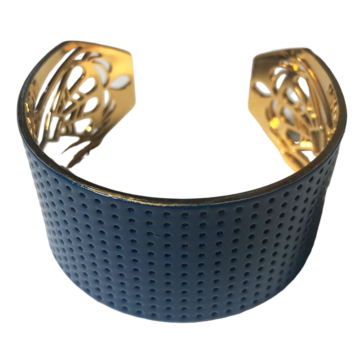 Non Signé / Unsigned Manchette Blue Gold plated bracelet for Women \N