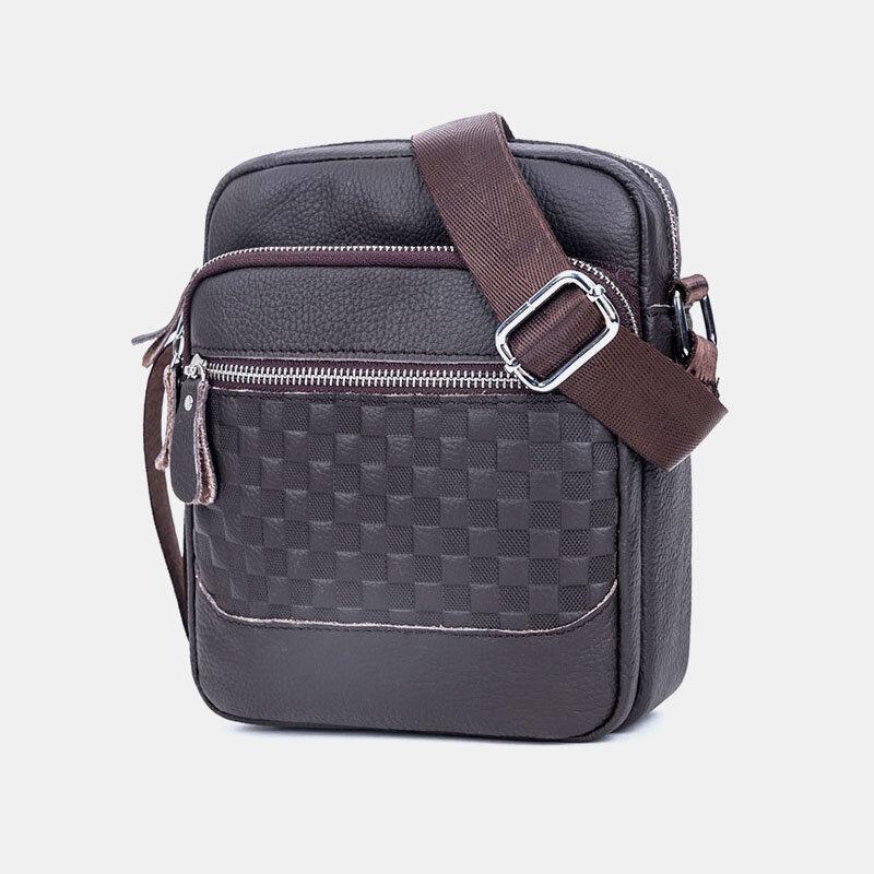 Men Genuine Leather Weave Waterproof Multifunction Multi-Layers Crossbody Bag Shoulder Bag