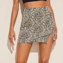 Split Hem Leopard Skirt
