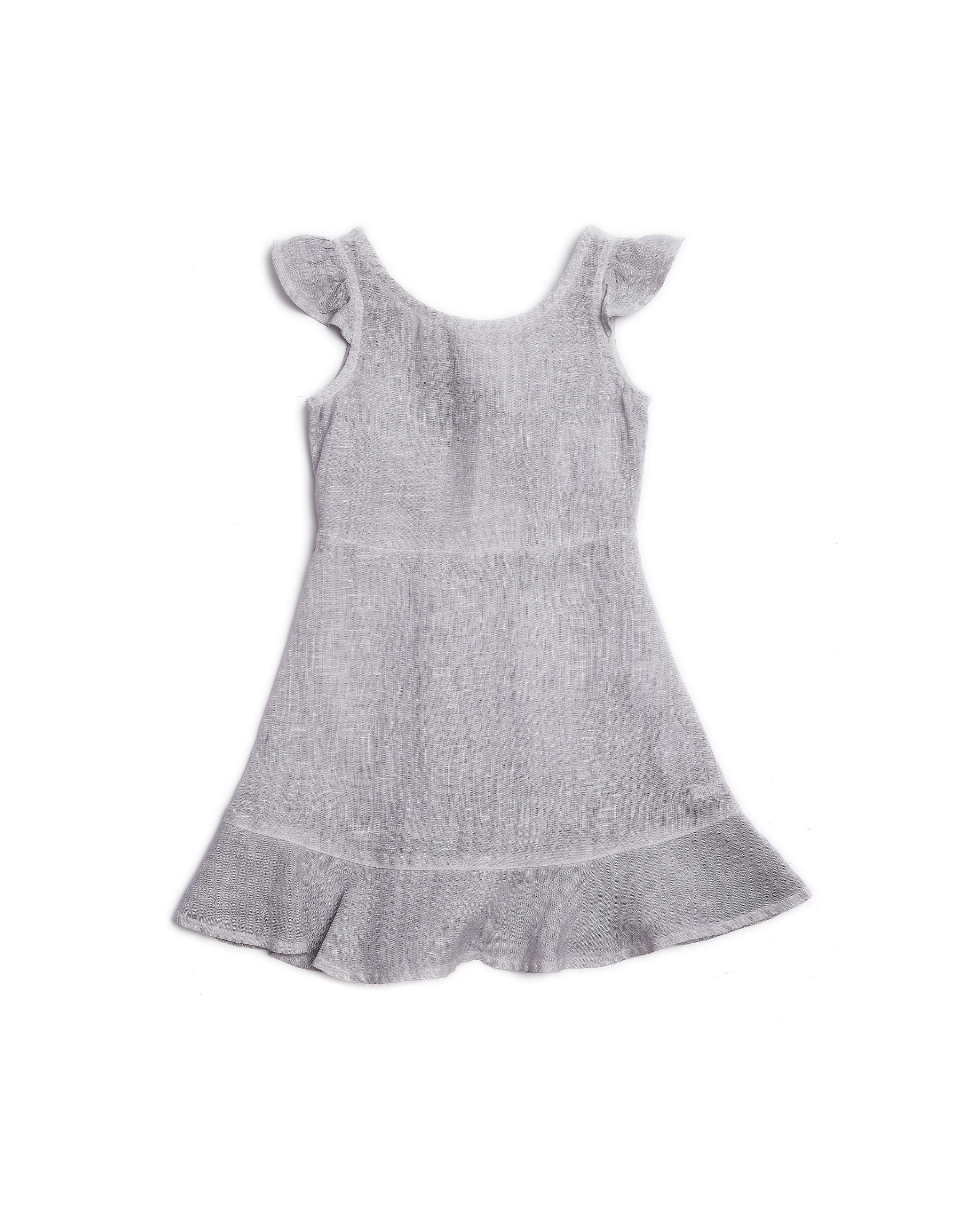 120% Lino Kids Grey Linen Dress