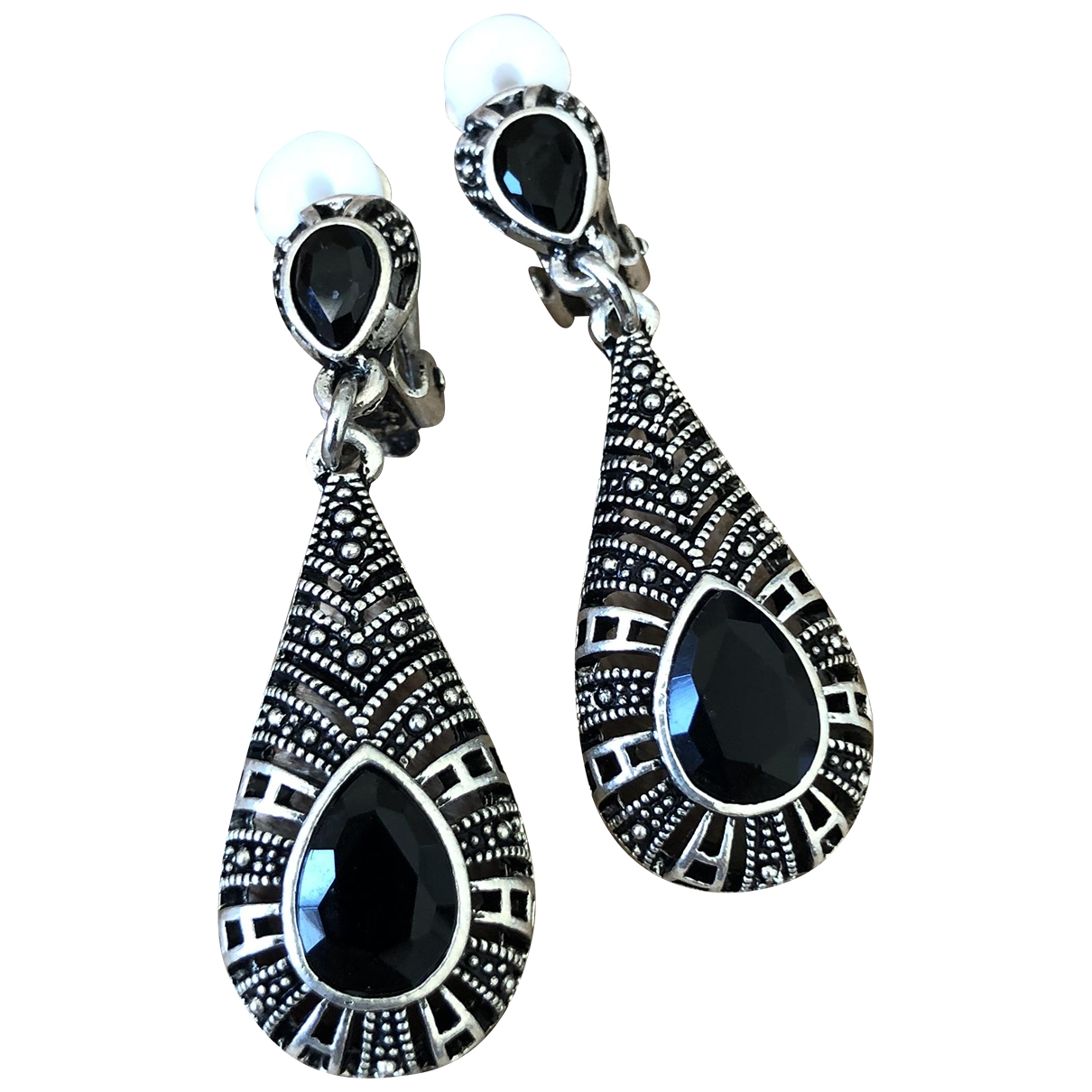Non Signé / Unsigned Art Déco Silver Steel Earrings for Women \N