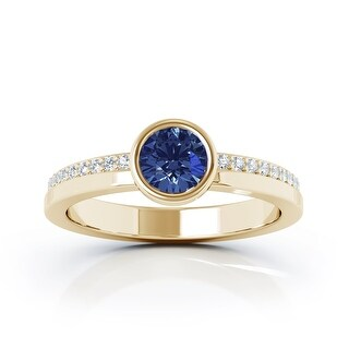 14K Gold Bezel 5MM Blue Sapphire & Diamond Ring (0.15 Ct, G-H, SI2-I1) by Noray Designs (4.5 - Yellow)