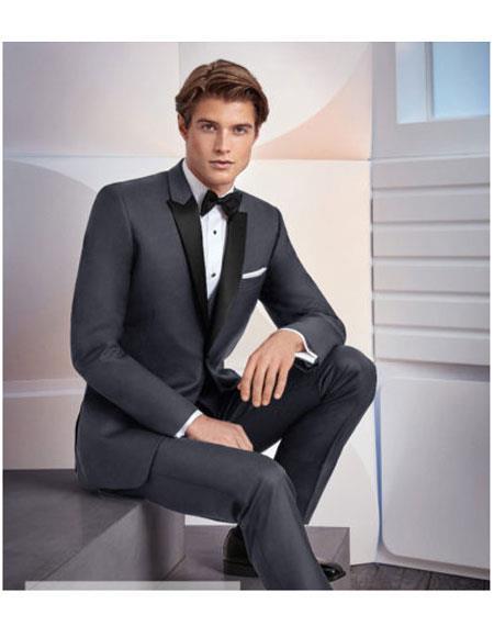 Men's Single Breasted 1 Button Black Satin Peak Lapel Grey Suit