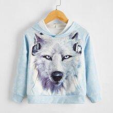 Hoodie mit 3D Wolf Muster und Kaenguru Taschen