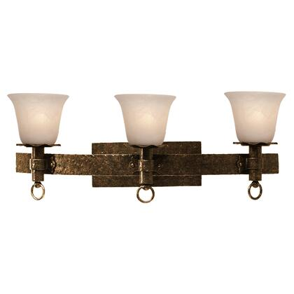 Americana 4203AC/1313 3-Light Bath in Antique Copper with Gold Streaked Amber Standard Glass