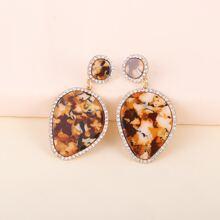Pendientes resin con diamante de imitacion