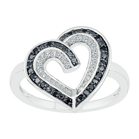 Womens 1/5 CT. T.W. Genuine Multi Color Diamond Sterling Silver Heart Cocktail Ring, 6 , No Color Family