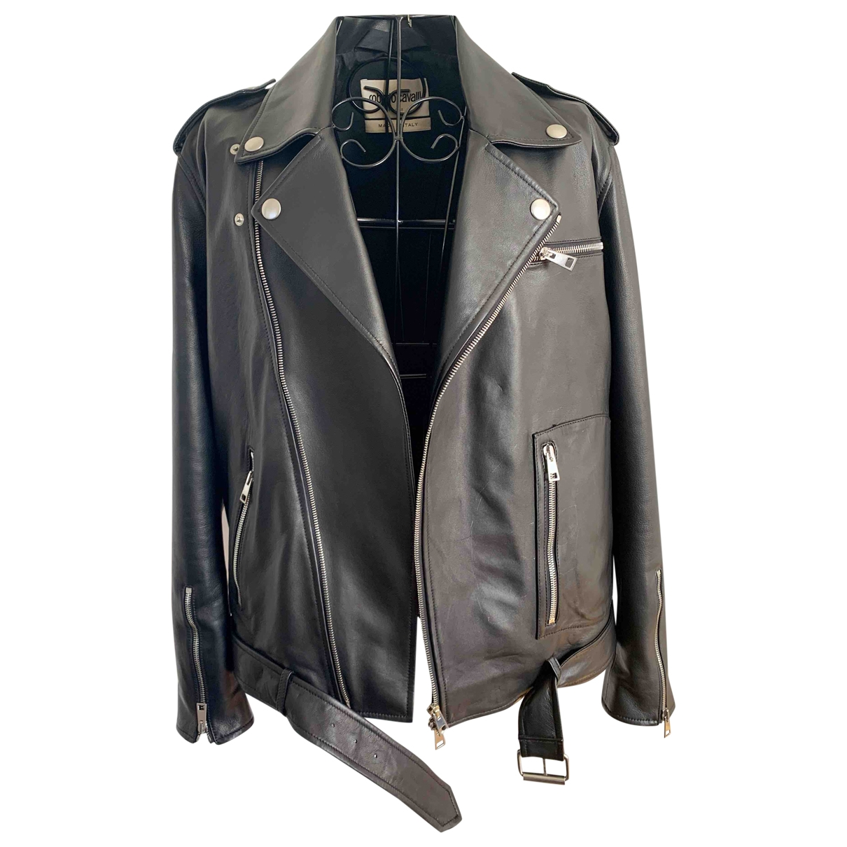 Roberto Cavalli \N Black Leather Leather jacket for Women 40 IT