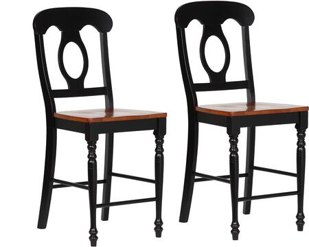 DLU-B50-BCH-2 Black Cherry Selections Collection Bar Stool with Turned Legs  Footrest  Wood Construction and Stretcher  in Antique Black and