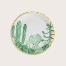 10pcs Cactus Print Disposable Plate