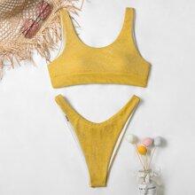 Bikini Badeanzug mit Glitzer und hohem Beinschnitt