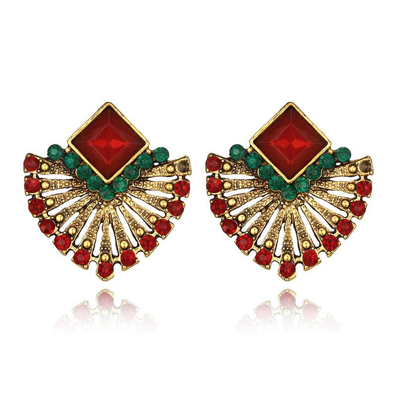 Bohemian Ruby Drop Earrings Scalloped Crystal Stub Earrings Ethnic Women Earring