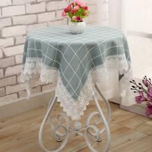 1pc Lace Trim Plaid Tablecloth