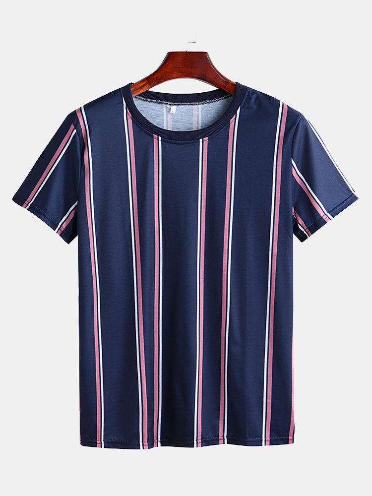 Mens Casual Vertical Striped Round Neck Short Sleeve Slim T-shirt