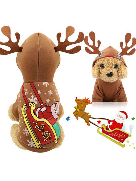 Milanoo Pet Costume Christmas Halloween Coffee Brown Clothes Polyester Pet Supply