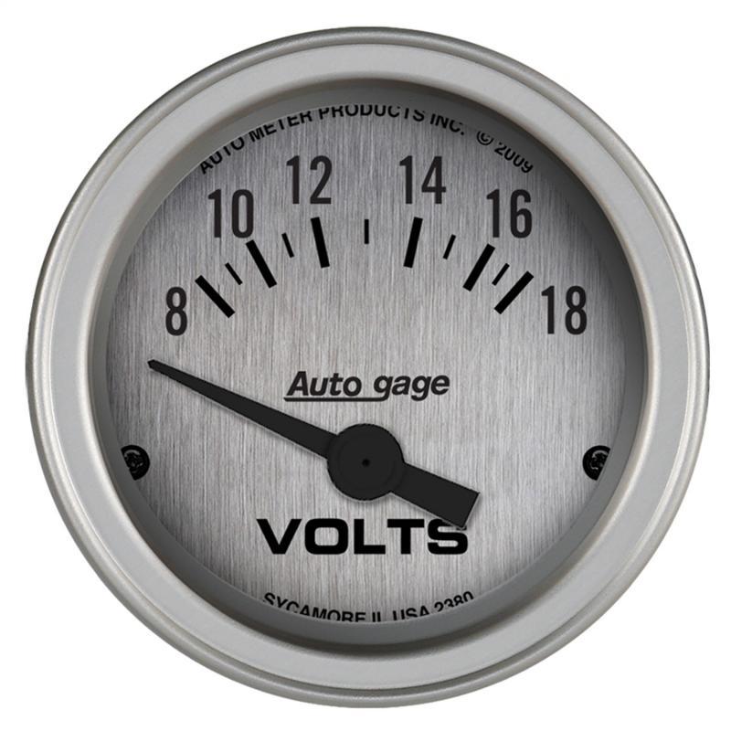 AutoMeter GAUGE CONSOLE; VOLTMETER; 2 1/16in.; 18V; SLVR DIAL; SLVR BEZEL; AUTOGAGE