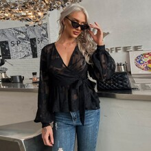 Surplice Neck Wrap Sheer Belted Peplum Blouse