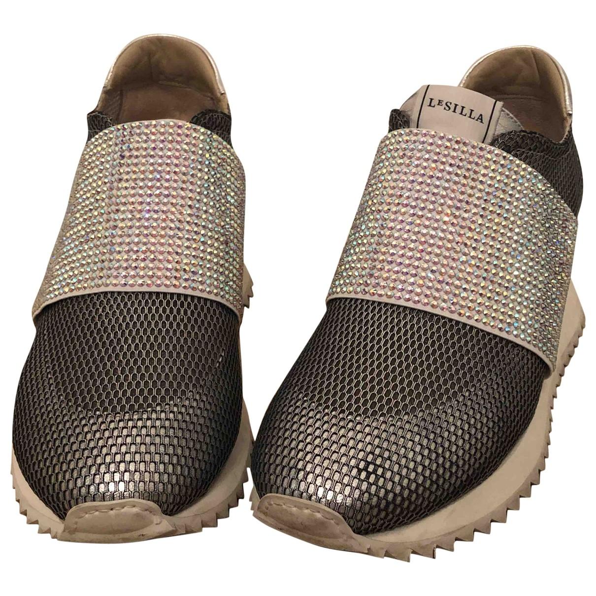 Le Silla \N Sneakers in  Silber Leinen