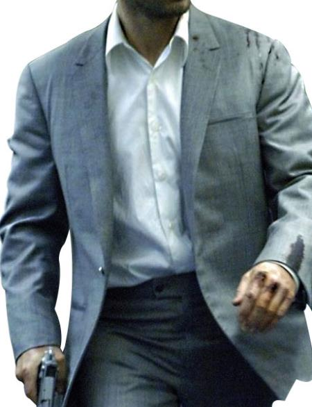 Men's Notch Lapel Single Breasted 1 Button Gray Suit