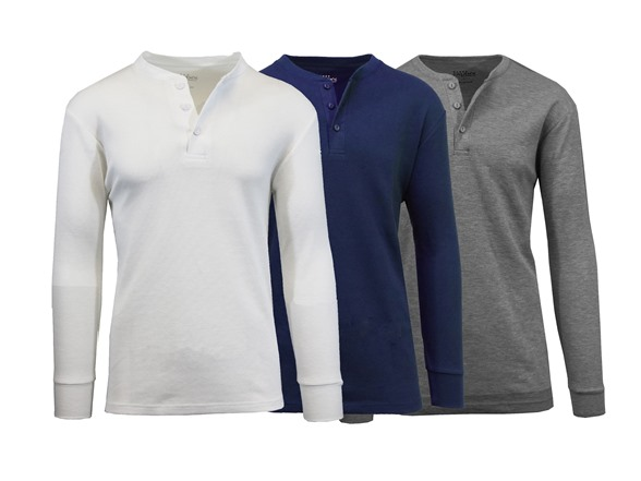 Men's Waffle-knit Henley Thermals 3 Pack