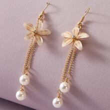 1pair Pearl & Floral Decor Drop Earrings