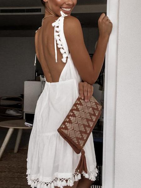 Yoins White Backless Tassel Design V-neck Sleeveless Dress