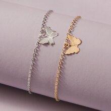 2 piezas brazalete con diseño de mariposa