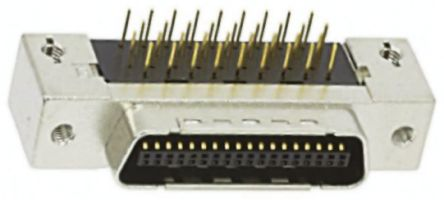 3M MDR 102 Series, 50 Way Right Angle Through Hole Micro-D PCB Connector Plug, 1.27mm Pitch