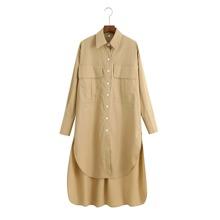 Hemdkleid mit Taschen Klappe und Stufensaum