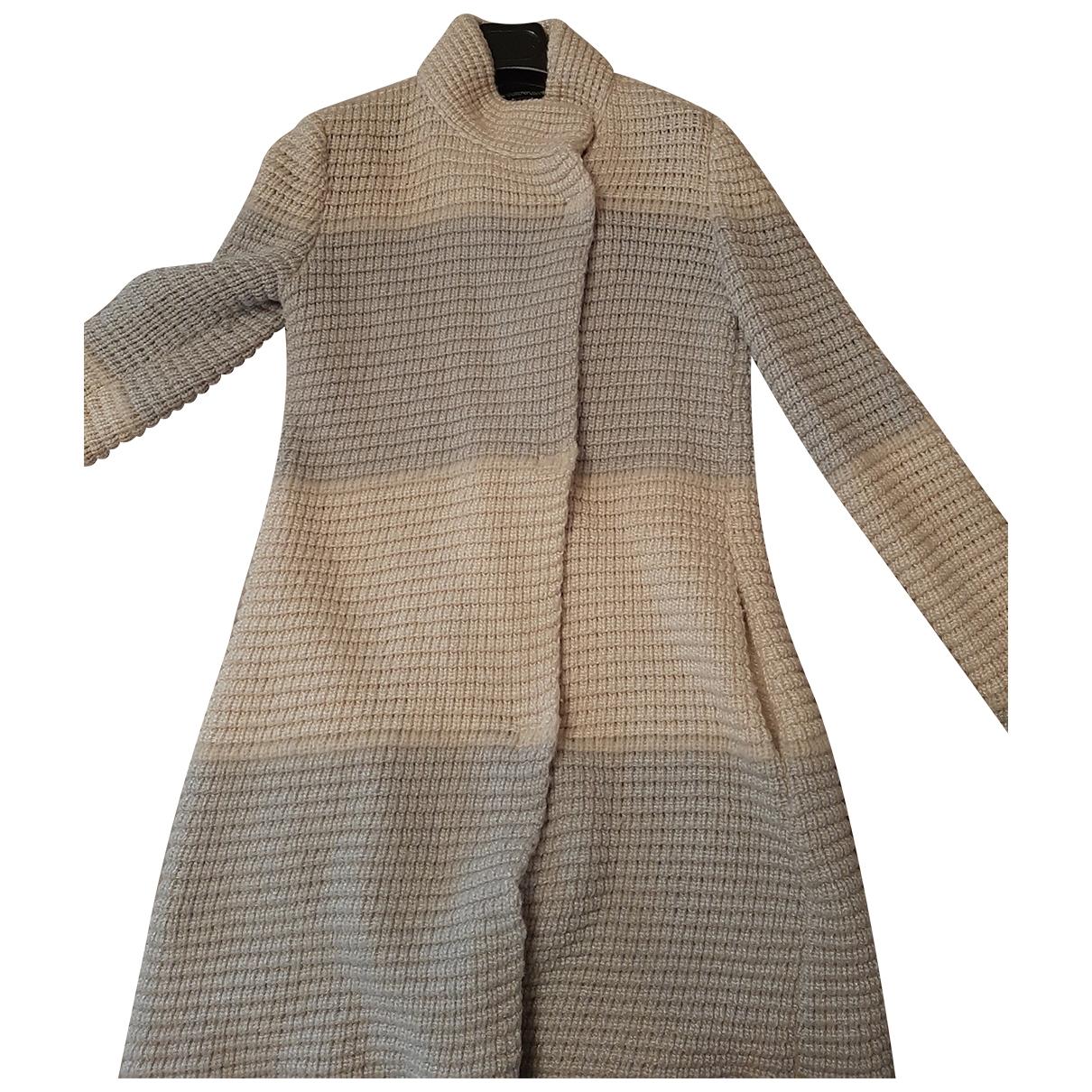 Emporio Armani - Manteau   pour femme en laine - blanc