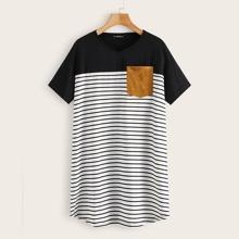 Wildleder Zweifarbiges T-Shirt Kleid mit Taschen Flicken und Streifen