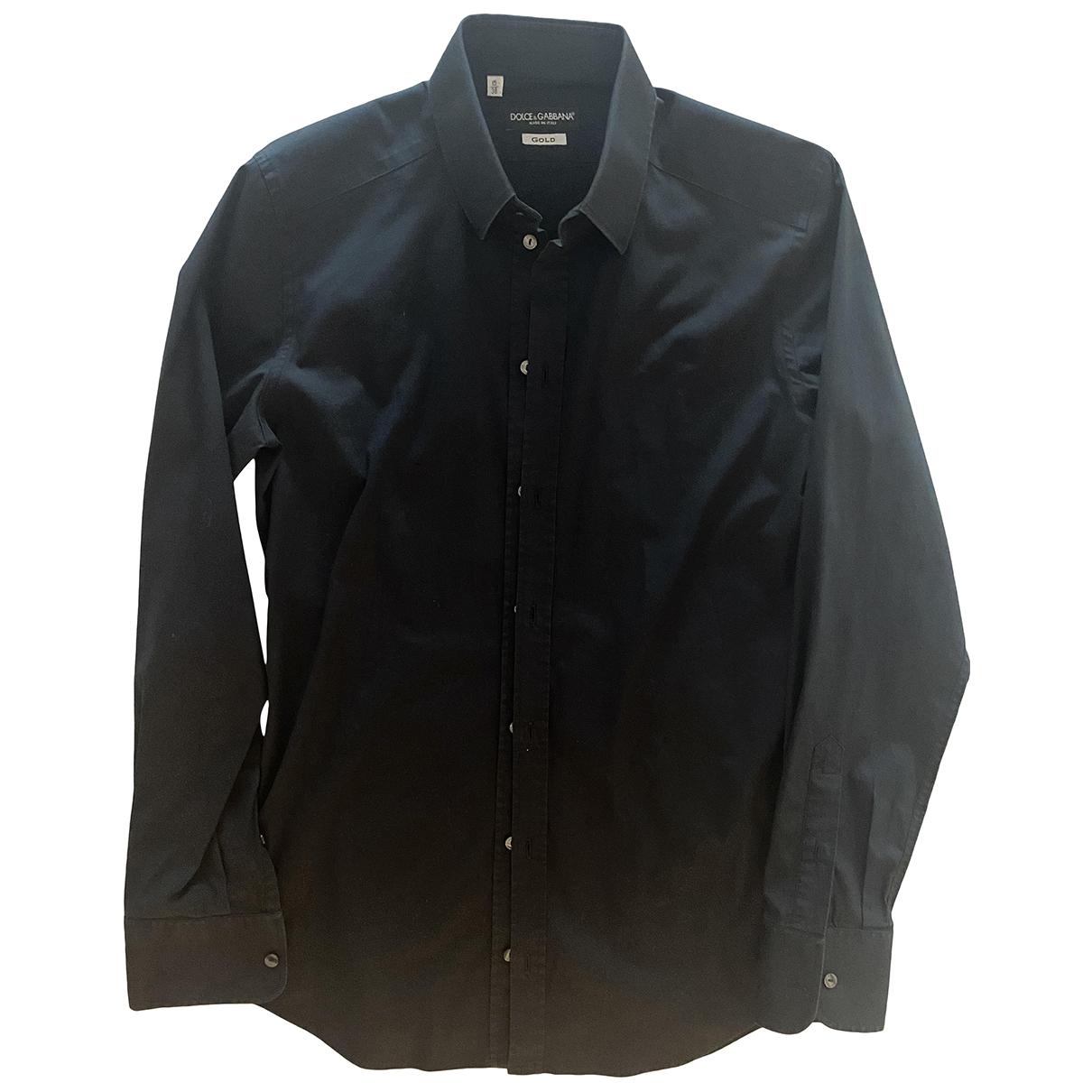 Dolce & Gabbana \N Black Cotton Shirts for Men 38 EU (tour de cou / collar)
