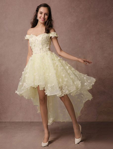 Milanoo High-low Prom Dress Lace Beading Off-the-shoulder Homecoming Dress Backless 3D Flower Applique Cocktail Dress