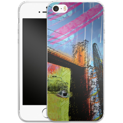 Apple iPhone SE Silikon Handyhuelle - Pop Brooklyn Bridge von Mark Ashkenazi