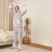 Kangaroo Pocket Flannel Pajama Set