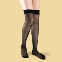 Lace Trim Mesh Socks