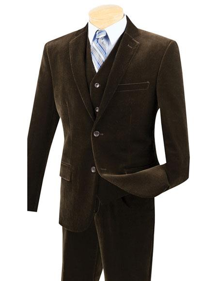 Mens 2Buttons Pinstripe corduroy 2piece vested Suits Flat Front Pants