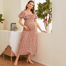 Maternity Kleid mit Puffaermeln, Knoten vorn, Raffungsaum und Blumen Muster