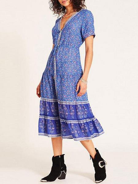 Milanoo Vestido de verano con cuello en V estampado floral plisado azul cian hasta la rodilla vestido de playa