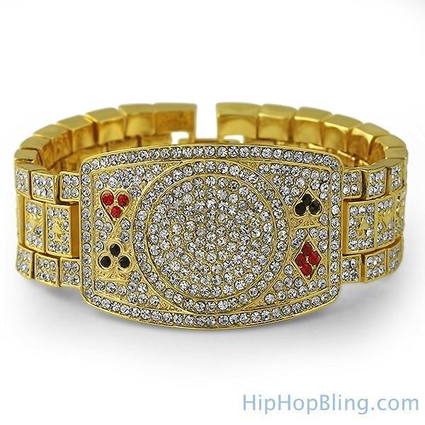 Texas Hold Em Poker Gold Bling Bling Bracelet