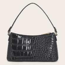 Croc Embossed Patent Baguette Bag
