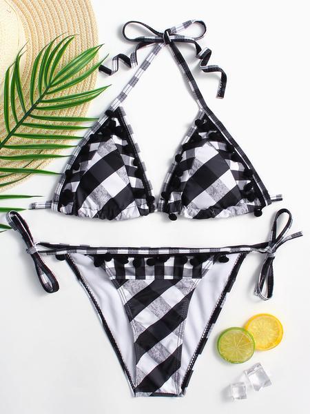 Yoins Black&White Grid Pattern Halter Bikini Set With Tassel hem
