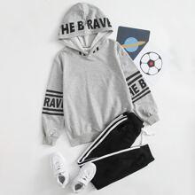 Boys Letter Graphic Hoodie & Side Stripe Drawstring Sweatpants Set