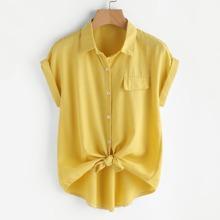Shirt mit Knoten, Selbstband und Knopfen vorn