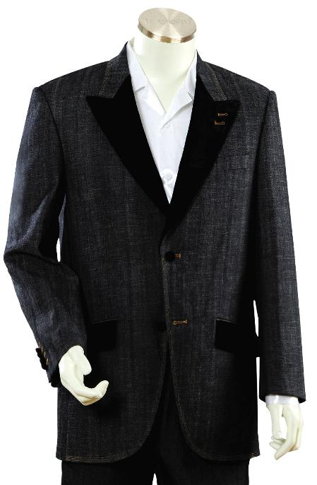 2 Button Black Denim Fabric Zoot Suit Mens