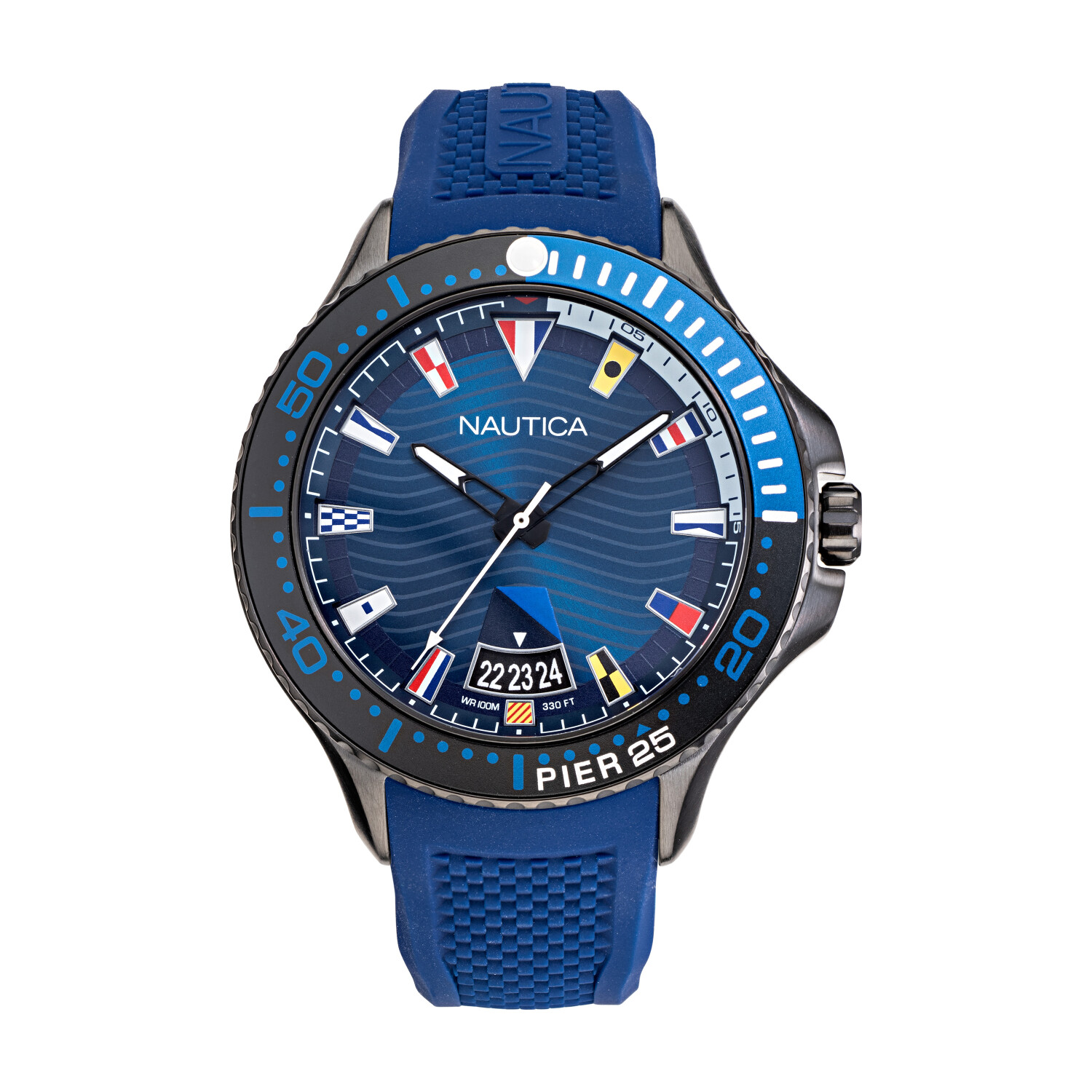 Nautica Mens Pier 26 NAPP25F08 Blue Silicone Quartz Fashion Watch