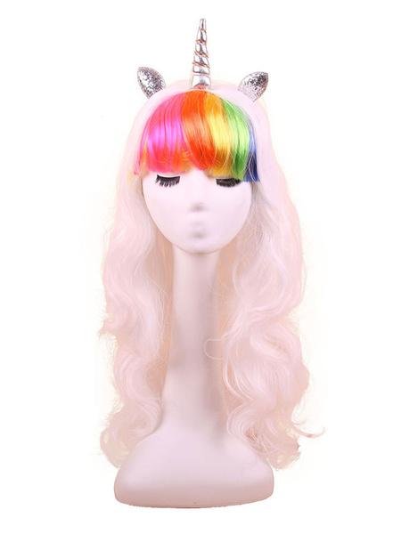 Milanoo Disfraz Halloween Disfraz de unicornio peluca blanco multicolor sintetico Blunt Bangs pelucas de pelo accesorios de disfraces de Halloween Car